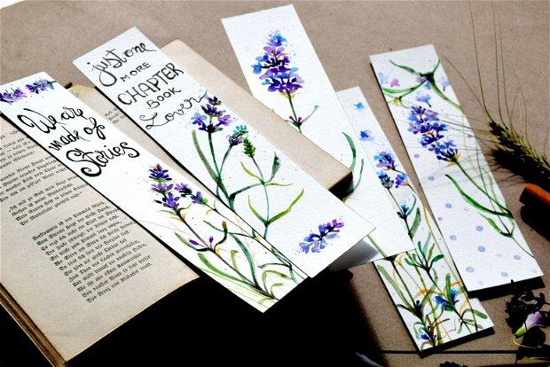 Semne de Carte - Lavanda, Flori, Carti, Pictura in Acuarela, Cadou Original, Carte - Nature & Colors Collection