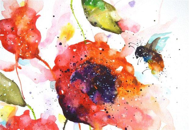Maci Rosii - Pictura Originala in Acuarela - Nature & Colors Collection