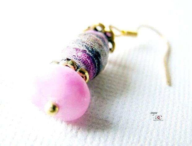Cercei PINK BEES- cercei veseli, colorați, cu pietre semiprețioase și hartie