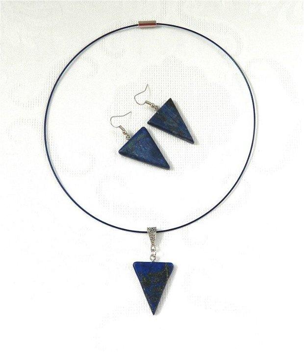 Set colier cu pandantiv şi cercei din triunghiuri de lapis lazuli