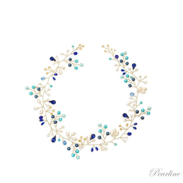 Accesoriu par mireasa handmade albastru Terra