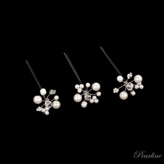 Set 3 Agrafe de par cu perle si cristale