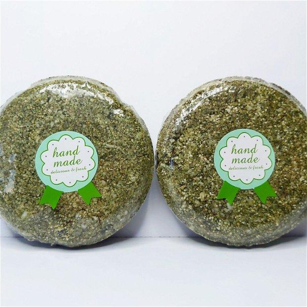 ,,URZICA, ARGILA VERDE, CHERATINA VEGETALA'' - Sampon solid natural ,,2-in1'' (sampon x balsam), ptr parul gras = 100gr.