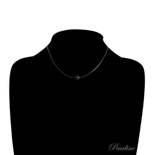 Choker transparent, Piatra Semipretioasa, bleumarin, Piatra soarelui, 8mm