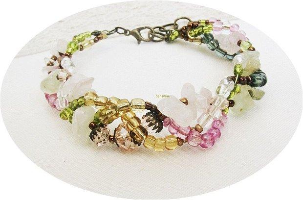 bratara cristalina roz si verde ( cuart roz , peridot , cristale )