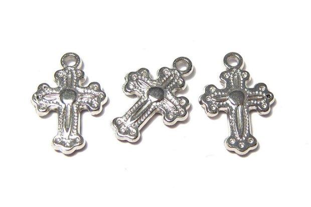Pandantiv / charm din acril metalizat, cruciulita, 20x13 mm