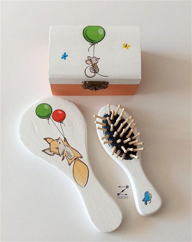 Set copii cu animale, set copii jungla, set cadou copii, perie si oglinda copii, set copii baloane