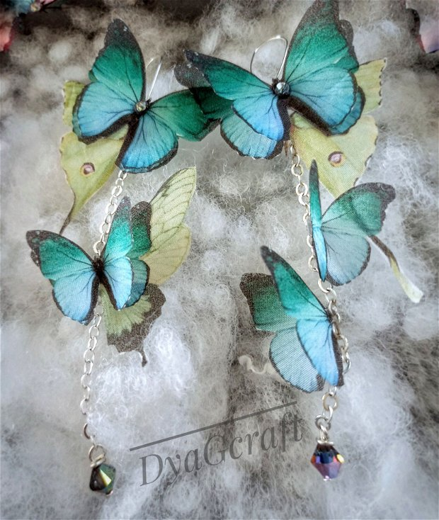 Set bratara si cercei cu fluturi de matase naturala si cristale Swarovski