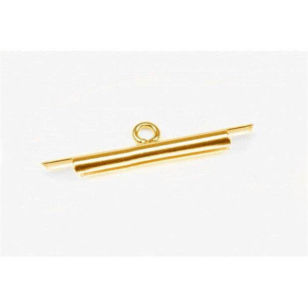 Miyuki slide tube, 20 mm, auriu