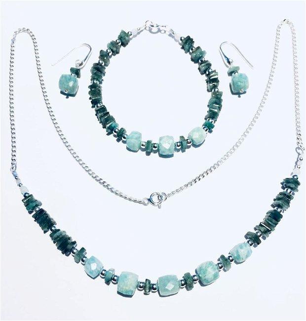 Smarald, amazonit,  si argint (777)