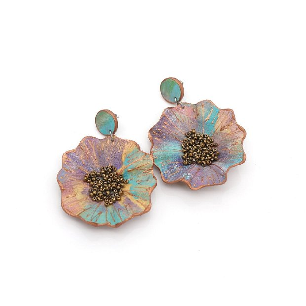 Cercei Flori Piele Pictata