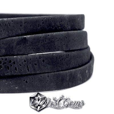 Banda groasa din pluta-Licorice- 10X5mm bleumarin-insertii negre COR004
