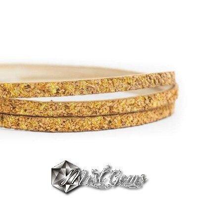 Banda foaie aurie cu bucati din pluta 5,3X2,8 mm natur-auriu COR036