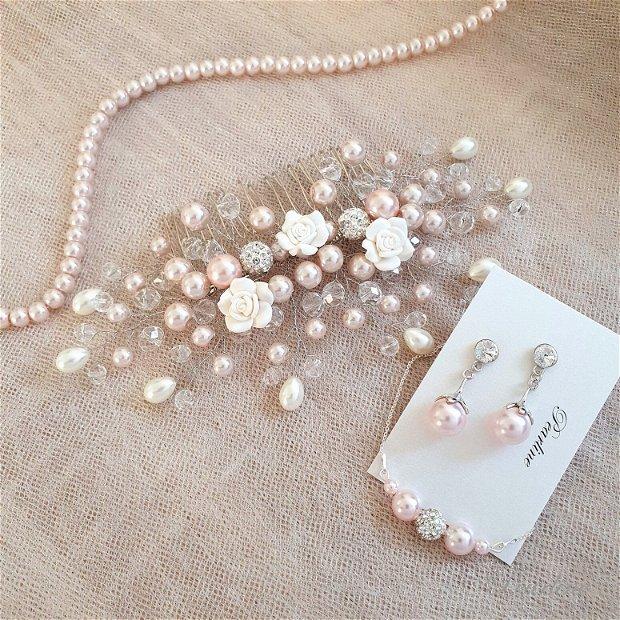 Set bijuterii mireasa roz pal- Pink Royal Blossom