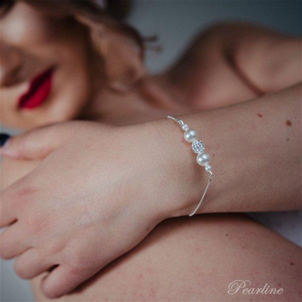 Bratara argint perle Swarovski si margea shamballa