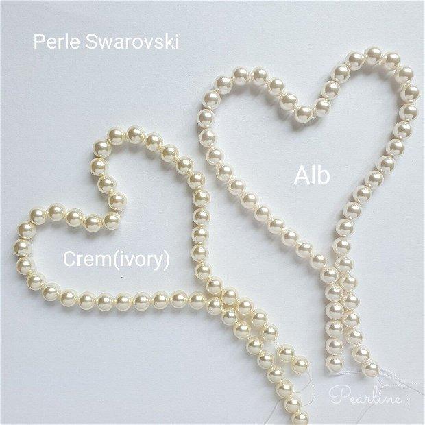 Lant argint cu perle Swarovski Crescendo si piatra shamballa
