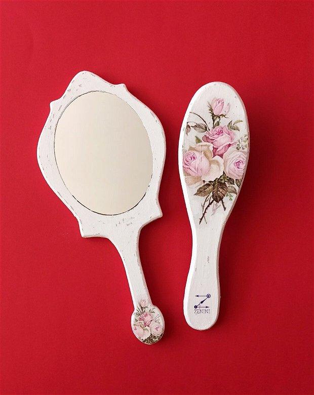 Set mireasa, perie si oglinda mireasa, set nunta, set gatitul miresei, set vintage mireasa, set elegant nunta