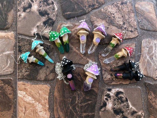 Cercei cu Ciupercute colorate cu Cristale