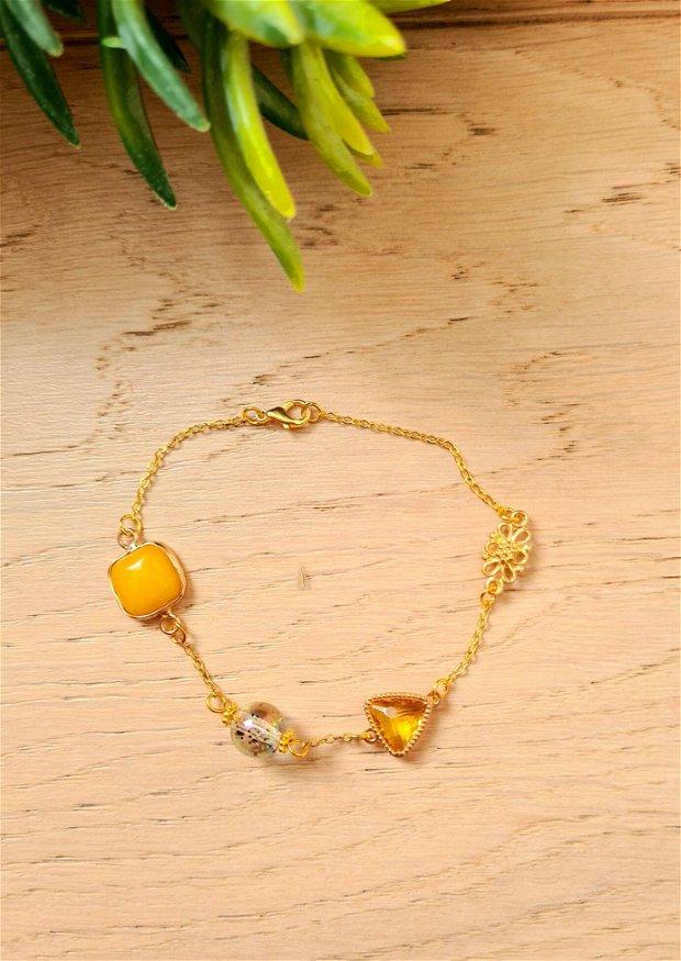 Bratara eleganta cu pietre naturale, cristal, margeluta de sticla