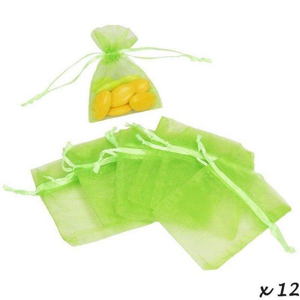 Saculet organtza verde crud