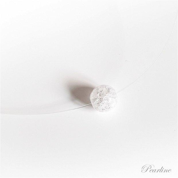 Choker transparent, Piatra Semipretioasa, transparent, Cristal de gheata, 8mm