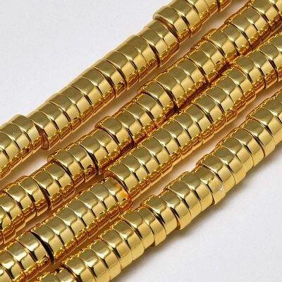 10 buc.Hematit rondele placate cu aur -6X2mm SP903