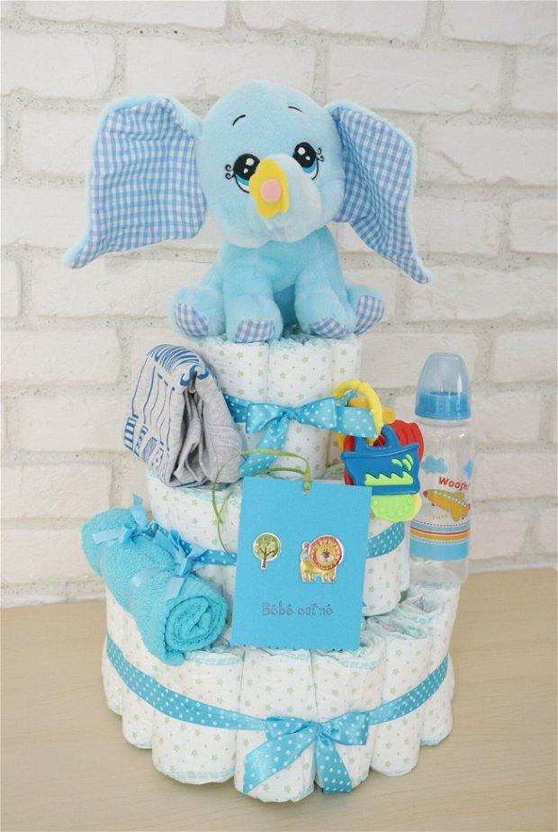 Tort scutece 3 etaje - elefantel bleu