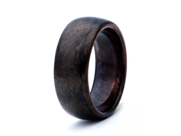 Inel lemn Paltin Gri & Dark Copper