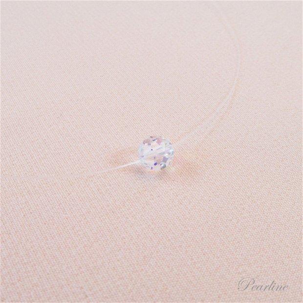Choker transparent, cristal Swarovski, aurora boreala, 6mm