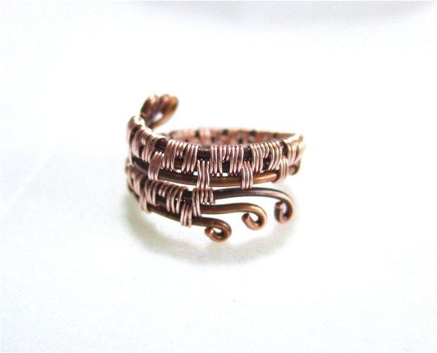 Inel  cupru oxidat cu model cupru rose gold, reglabil
