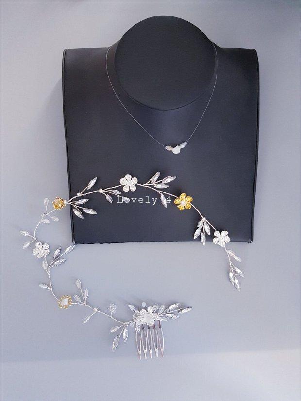 Armyna- Diadema mireasa, Accesoriu de păr cu cristale și pietricele