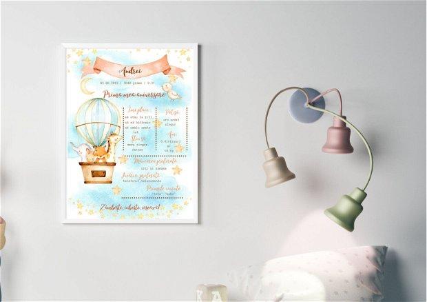 Tablou poster personalizat pentru prima aniversare | Rama bebe 1 an