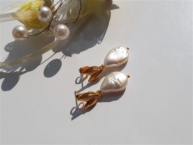 Cercei perle white freshwater