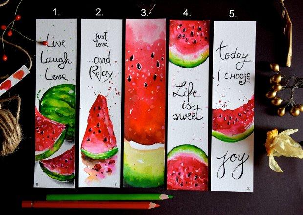 Semne de Carte - Pepene Rosu, Fructe, Carti, Pictura in Acuarela, Cadou Original, Carte - Nature & Colors Collection
