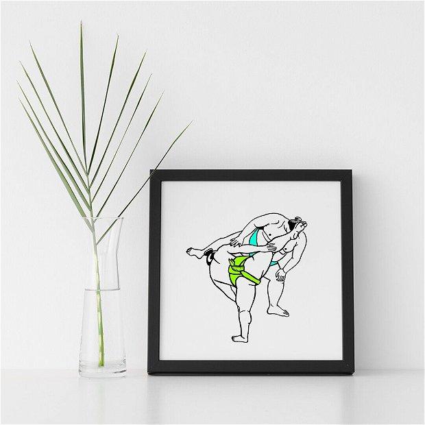 Print ilustrație digitală sumo guys