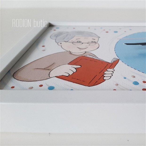 Ceas pentru bunica pictat manual personalizat cu mesaj