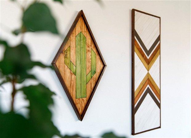 CACTUS Decorațiune din lemn pentru perete, tablou din lemn