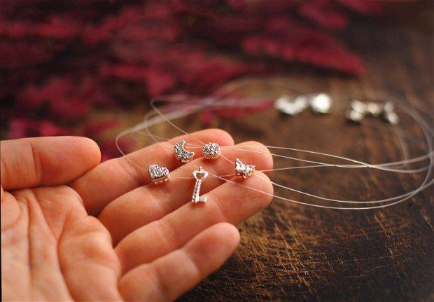 Colier din guta transparenta si pandantiv din argint cu zirconii, cadou domnisoare de onoare, cadou aniversare / Craciun / 8 martie / Dragobete / Valentine's Day sotie / prietena