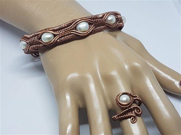 Inel din cupru,inel reglabil, inel cu perla.
