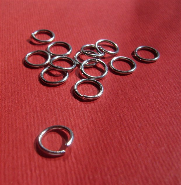 (10 bucati) Zale MARI - GROASE, deschise (nesudate)  (ZNS1) din argint .925 rodiat diametru aprox 8 mm, grosime aprox 1 mm