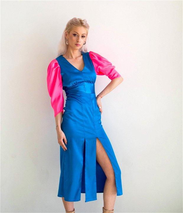 Rochie turcuaz cu maneci roz