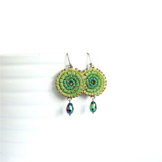 Cercei Multicolori Piele Galben Verde