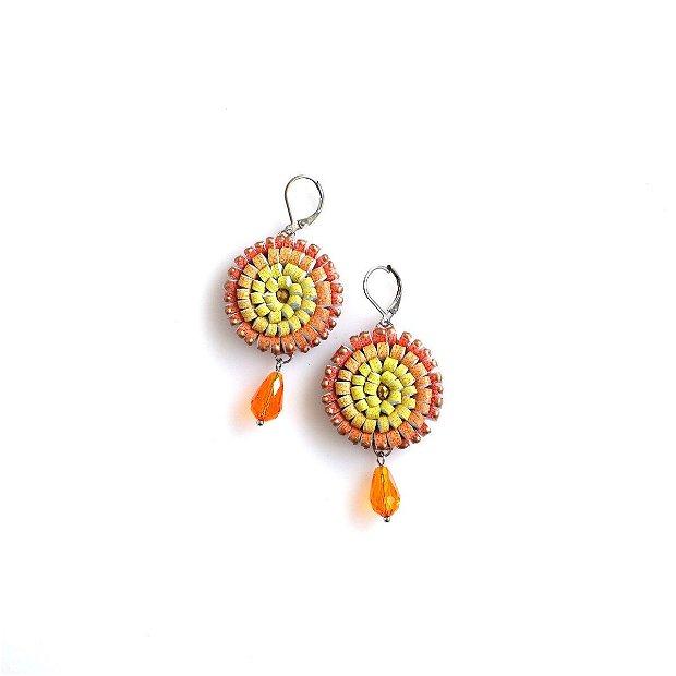 Cercei Multicolori Piele Galben Oranj