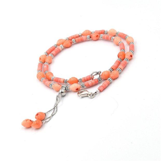 Rezervat Set de bijuterii  compus din colier și cercei din coral roz si argint