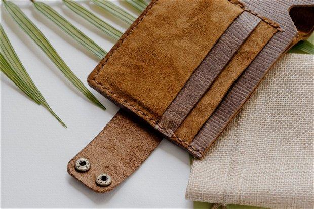 """Portofel """"AD1.2"""" din piele naturala reciclata, multicompartimentat, personalizat prin gravura"""