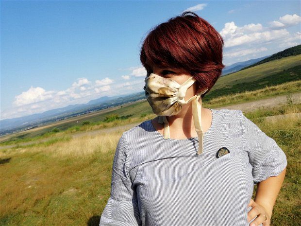 Masca din mătase naturala imprimata eco (eco printing), folosind plante