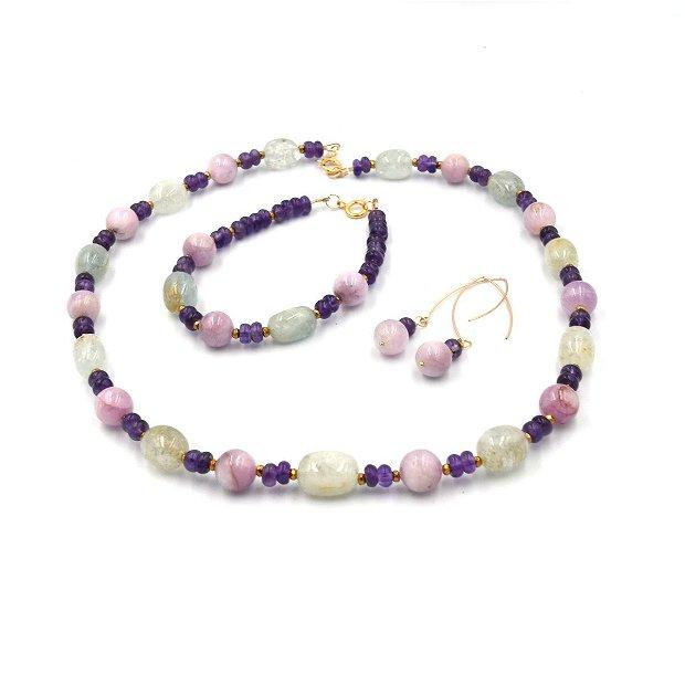 Set de bijuterii  compus din colier, cercei și bratara cu pietre de morganit, kunzit, ametist și distanțiere de hematit auriu