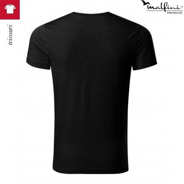 Tricou negru barbati din bumbac si elastan, Action