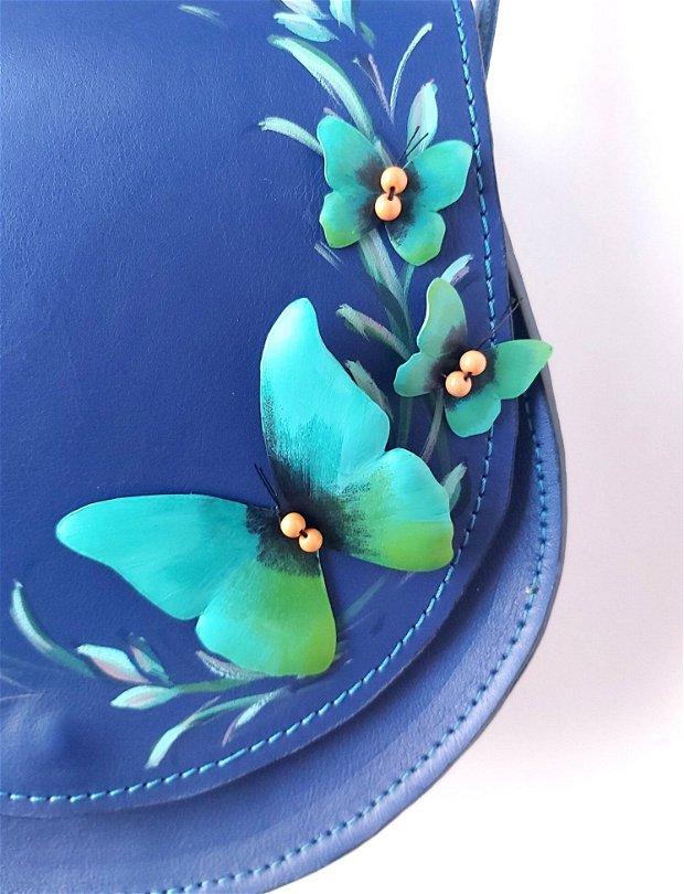 Geanta mica albastru fluture