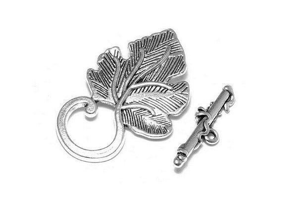 Inchizatoare toggle, argintiu antichizat, 36x22 mm